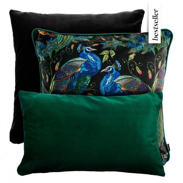 Czarno- zielony zestaw poduszek Peacock