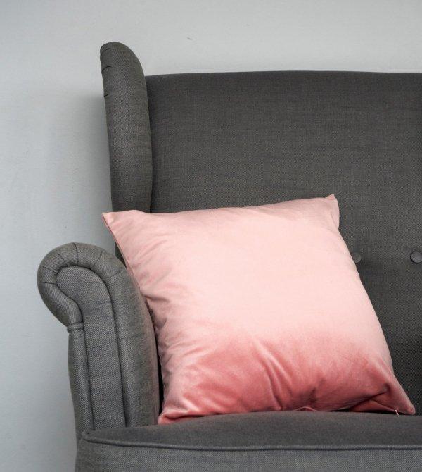 Velvet jasno różowa poduszka dekoracyjna 45x45