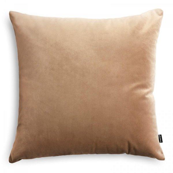 Velvet beżowa poduszka dekoracyjna bordowa 45x45