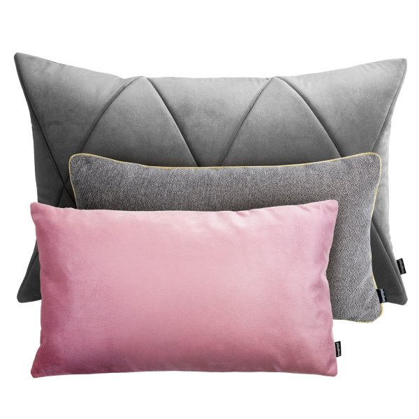 Szaro różowy zestaw poduszek dekoracyjnych Alaska + Touch
