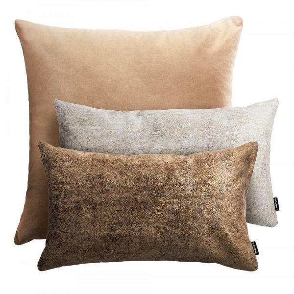 Beżowy zestaw poduszek dekoracyjnych Velvet + Stone