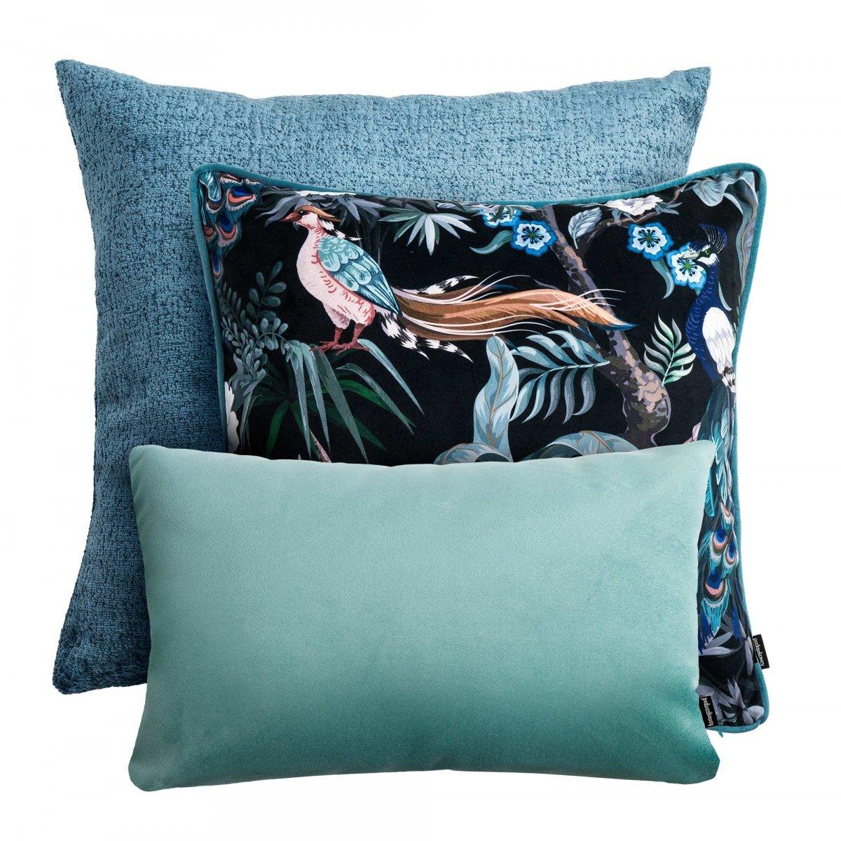 Błękitno - miętowy zestaw poduszek dekoracyjnych  Ptaki