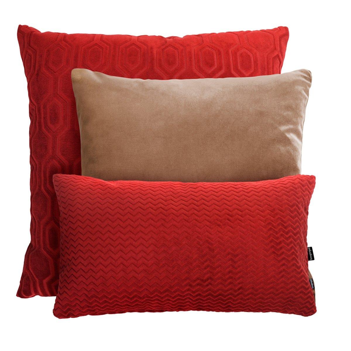 Czerwono - beżowy zestaw poduszek dekoracyjnych Honey