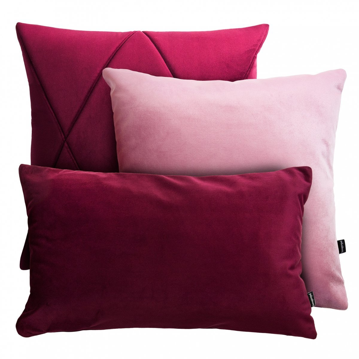 Bordowo różowy zestaw poduszek Velvet+Touch
