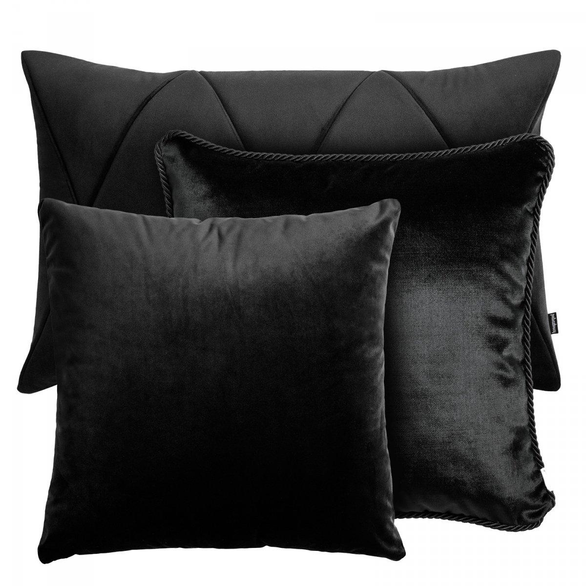 Czarny zestaw poduszek dekoracyjnych Velvet + Glamour