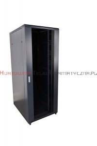CC Szafa RACK 19 stojąca 42U 600x600 drzwi blacha/szkło, czarna