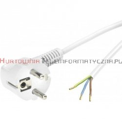 Kabel zasilający przyłączeniowy 3m, 3x1,5  wtyk kątowy, biały