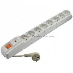 Acar S8 listwa zasilająca, 8x230, wyłącznik, bezpiecznik, 3.0m, szara