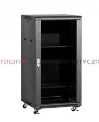 LINKBASIC Szafa 19 stojąca 22U 600x800 mm (drzwi szklane,4xwent.,2xpółka,1xlistwa) czarna