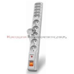 Acar S10 listwa zasilająca, 10x230, wyłącznik, bezpiecznik, 3.0m, szara