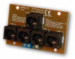 ATTE Moduł zasilania i transmisji video dla 4 kamer – wej. 4xRJ45, wyj. 1xRJ45