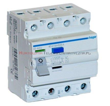 HAGER Wyłącznik/bezpiecznik różnicowoproądowy 40A, 30mA, typ AC, 6kA 4-bieg.
