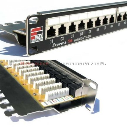 FIBRAIN DATA Express UTP Patch Panel 24 ports RJ45 Kat.5e+ z półką i polem opisowym