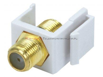 Adapter keystone ze złączem typu F beczka/łącznik, kolor biały