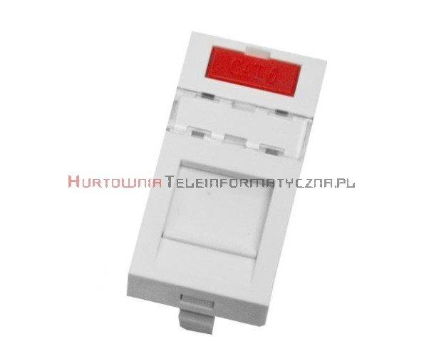 SOLARIX adapter prosty 1mod. 45x22,5mm pod keyston 1xRJ45 z plakietką opisową i klapką