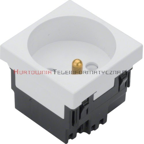 HAGER gniazdo elektryczne 1x230 z uziemieniem 33*, białe 45x45 2mod.