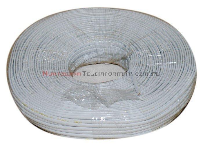 Kabel telefoniczny płaski 2-żyłowy biały krążek 100m