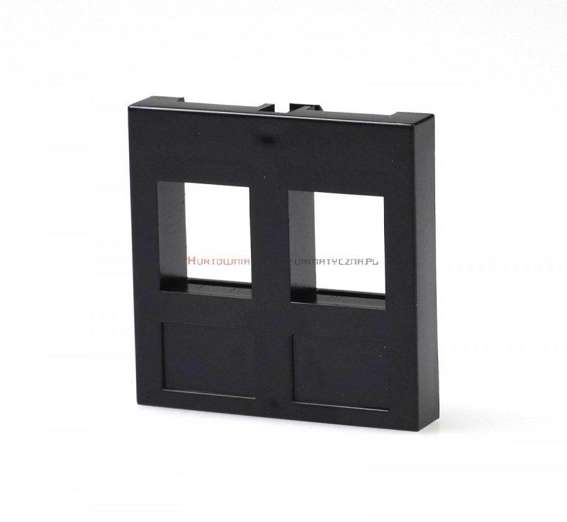 Adapter prosty 2 mod. 45x45mm pod keyston 2xRJ45, bez klapki, czarny