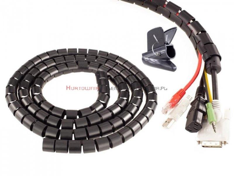 Organizator kabli okrągły spiralny fi30mm / 2m czarny