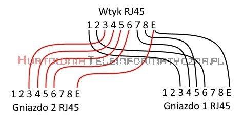 Rozdzielacz portu RJ45 ekranowany 2xTEL ISDN