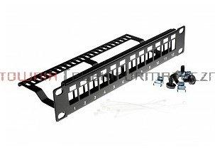 """Patch Panel modularny 10"""" 12xRJ45, z półką, nie wyposażony,"""