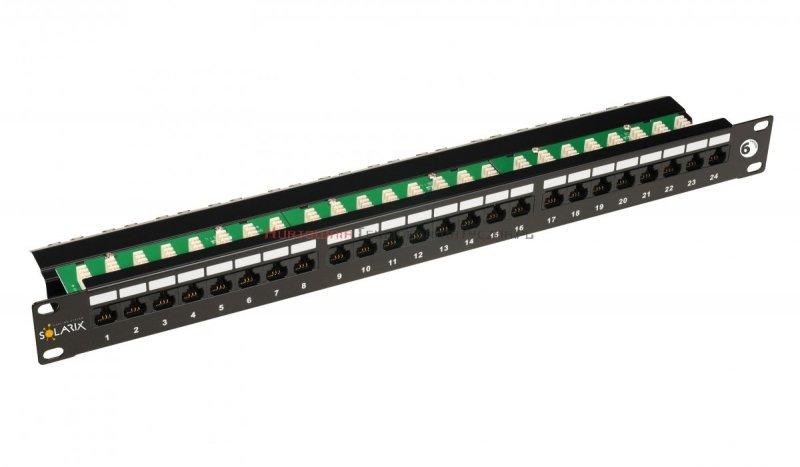 SOLARIX Patch Panel 24XRJ45 kat.6 UTP z półką, czarny 1U