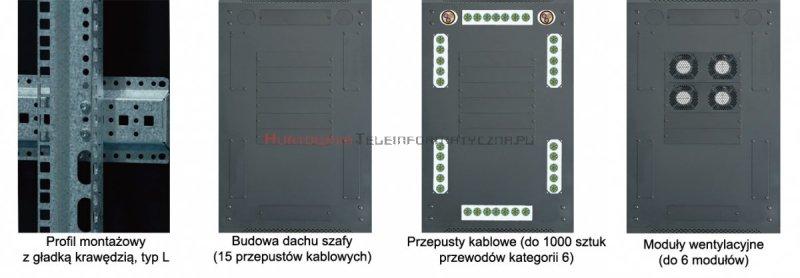 """TOTEN Szafa RACK 19"""" stojąca G3 42U 600x800mm, drzwi perforowane, czarna"""