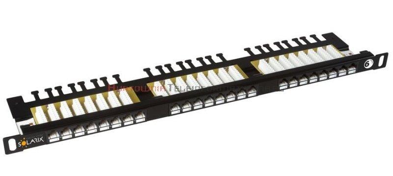 SOLARIX Patch Panel 24XRJ45 kat.6 UTP z półką, czarny 0,5U