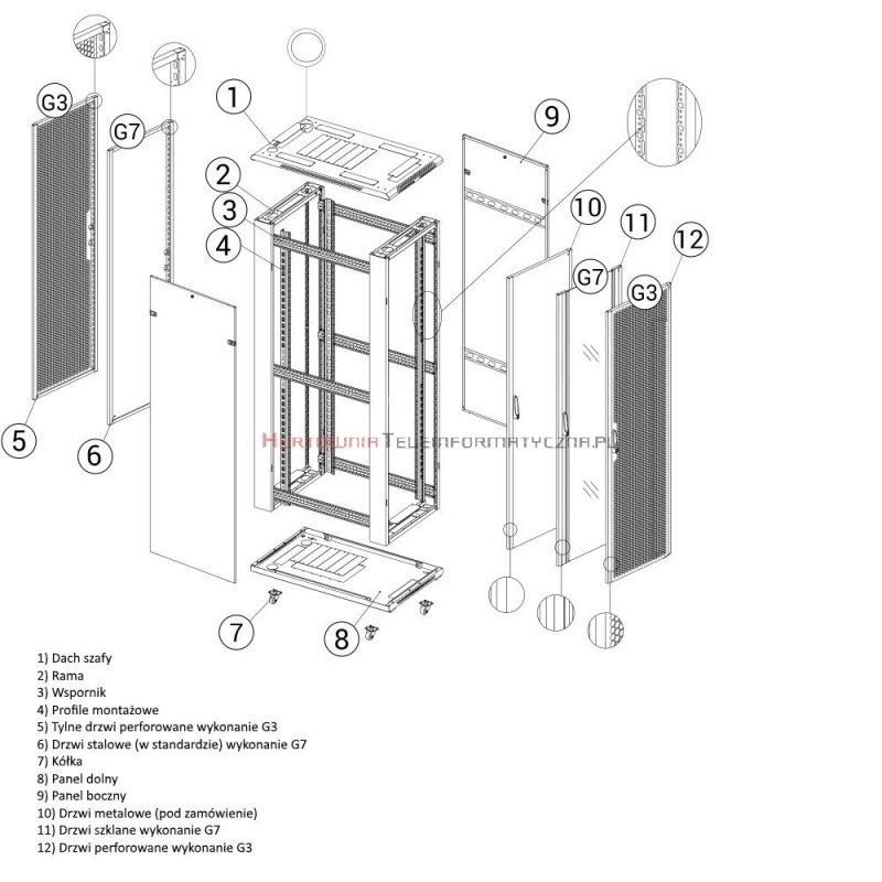 """TOTEN Szafa RACK 19"""" stojąca G7 22U 600x600mm, drzwi blacha/szkło czarna"""