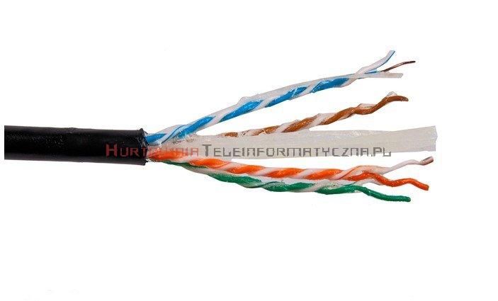 SecurityNET kabel U/UTP kat.6, drut, PVC/PE zewnętrzny żelowany, czarny