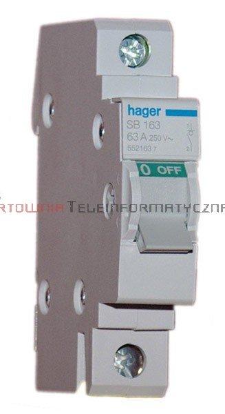 HAGER Rozłącznik / wyłącznik główny – 1 biegunowy, 63A, 230V