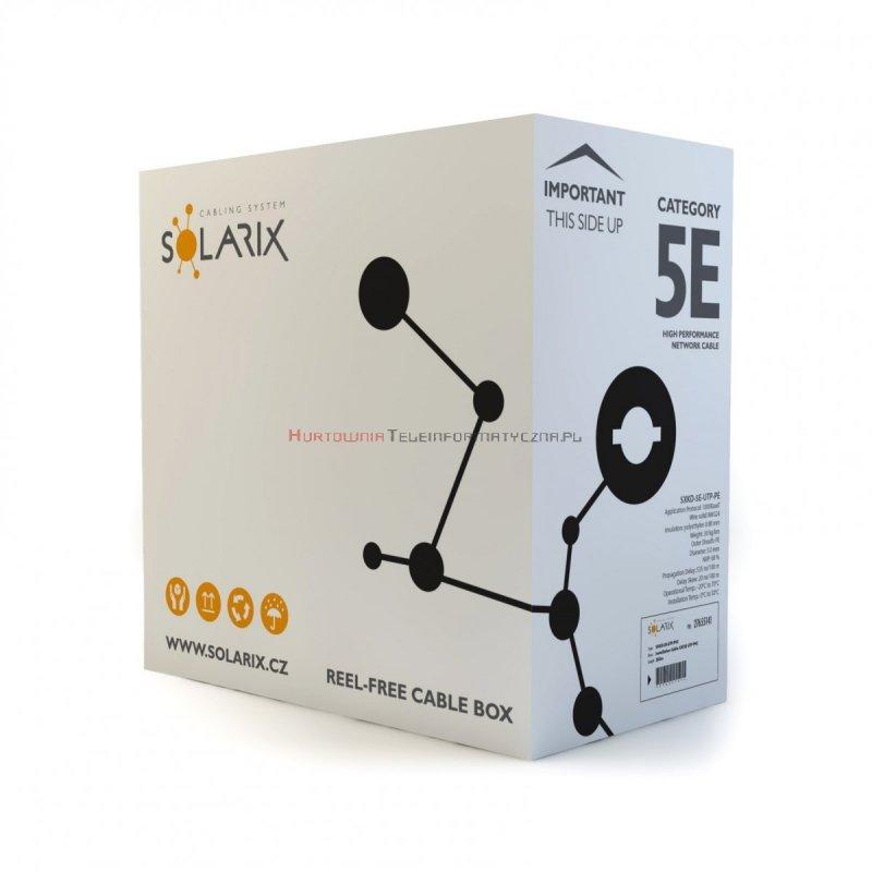 SOLARIX kabel U/UTP, drut, zewnętrzny suchy, czarny, kat.5e - 305m