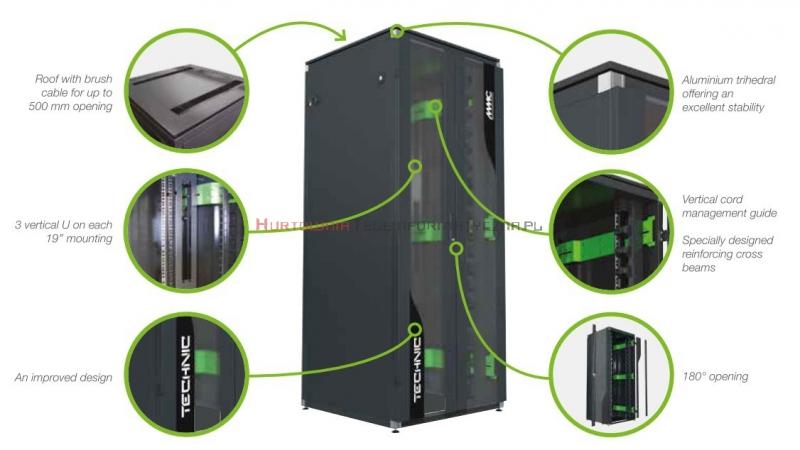 """MMC Szafa RACK Technik 19"""" stojąca 42U 800x1000, 800kg, drzwi dwuskrzydłowe blacha/szkło, czarna"""