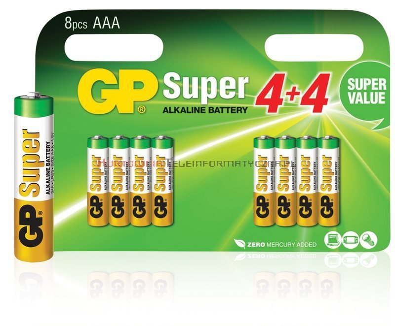 GP SUPER Bateria alkaliczna 1,5V AAA LR03 (blister - 8 szt.)
