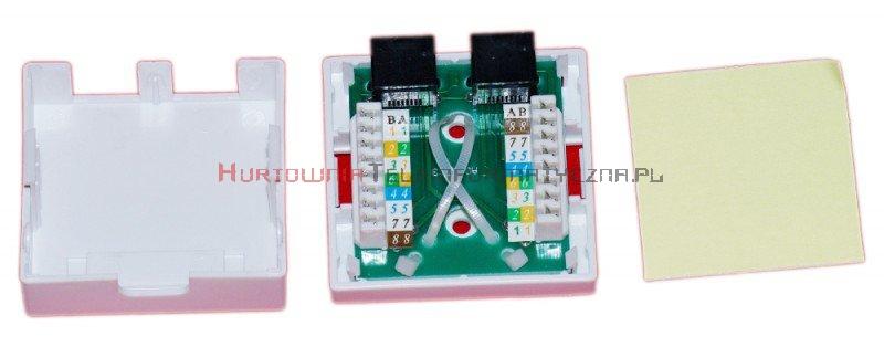 Gniazdo komputerowe LAN 2 x RJ45 kat.6 natynkowe białe
