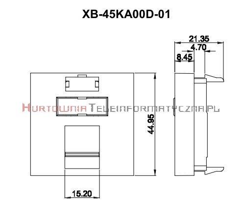 FIBRAIN DATA adapter prosty 2mod. 1xRJ45 z plakietką opisową i klapką.