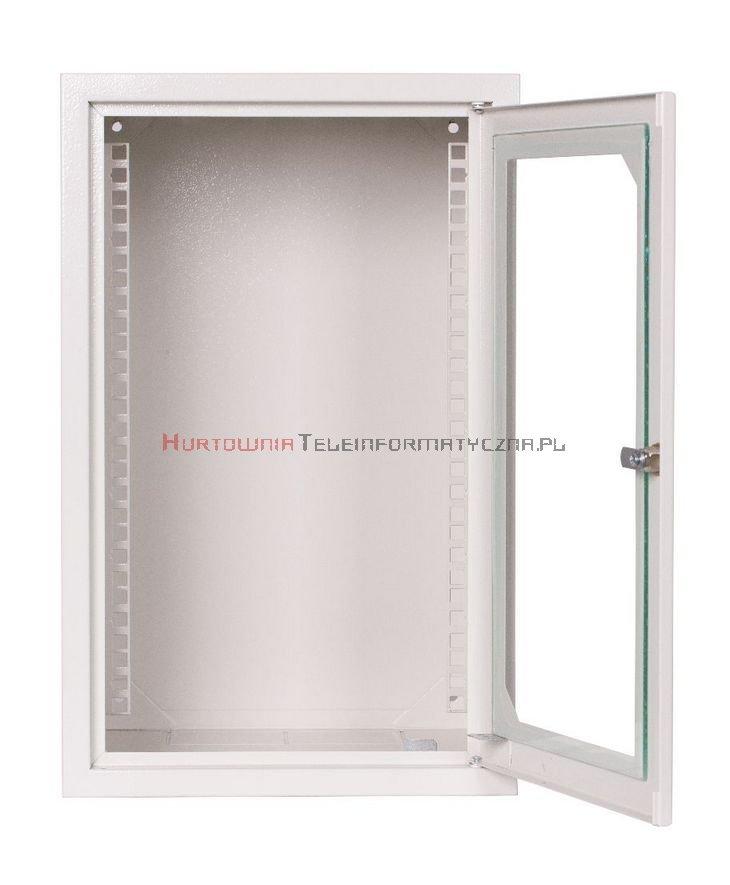 """SABAJ Szafa 10"""" wisząca, 6U 300, drzwi metal/szkło, szara"""