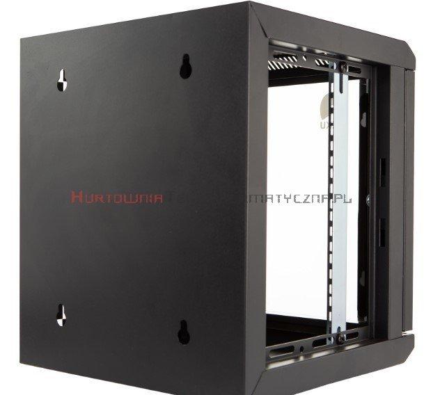 """Szafa 10"""" wisząca, 9U 300, drzwi metal/szkło, czarna"""
