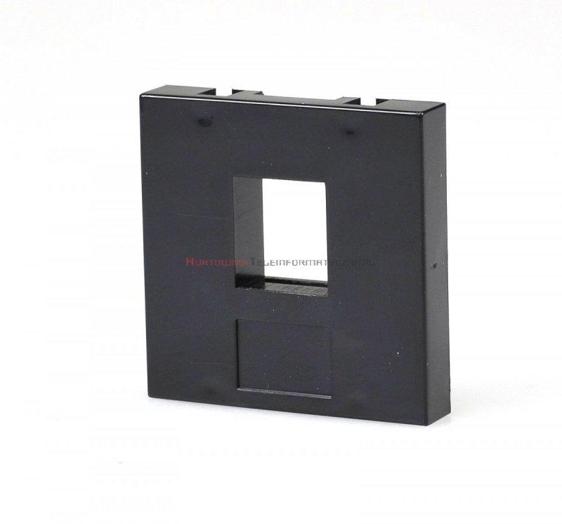 Adapter prosty 2 mod. 45x45mm pod keyston 1xRJ45, bez klapki, czarny