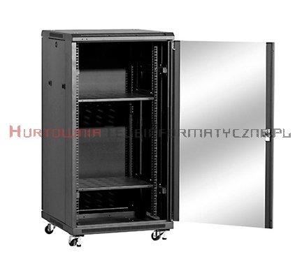 """LINKBASIC Szafa 19"""" stojąca 22U 600x800 mm (drzwi szklane,4xwent.,2xpółka,1xlistwa) czarna"""