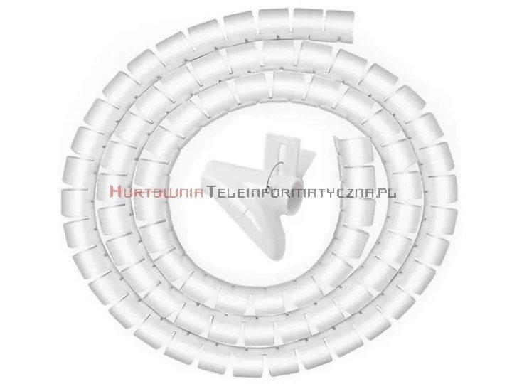 Organizator kabli okrągły spiralny fi25mm / 2m biały