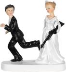 Figurka na tort ślub PARA MŁODA Z KARABINEM bronią