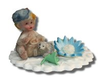 Retro Chłopiec w czapeczce - dekoracja tortu na chrzest