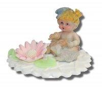 Retro Dziewczynka w czapeczce - dekoracja tortu na chrzest