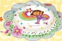 Kardasis opłatek na tort okrągły Dora z tęczą