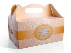Ozdobne pudełko na ciasto weselne 10 szt. złote