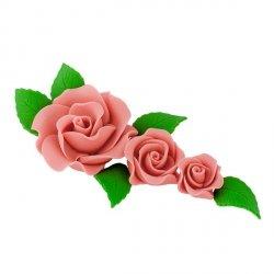 Zestaw cukrowe kwiaty na tort 3 RÓŻE z listkami ŁOSOSIOWE
