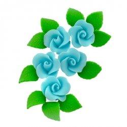 Zestaw cukrowe kwiaty 5x RÓŻA MAŁA z listkami NIEBIESKA