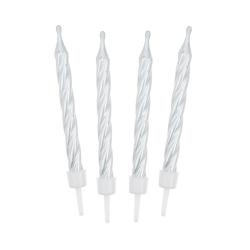 Świeczki urodzinowe na tort PERŁOWE białe 6cm (12szt)