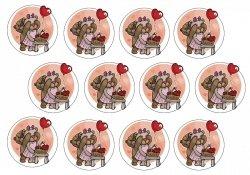 Duże opłatki na muffinki Walentynki v.1